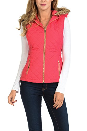 - Auliné Collection Womens Quilted Zip Up Lightweight Padding Vest Fur Hood ZP Rose M