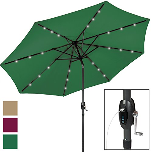 Best Choice Products 10ft Solar LED Patio Umbrella w/USB Charger, Portable Power Bank, Tilt Adjustment - (Green Led Usb)
