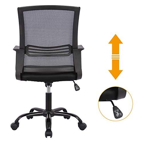 SMUGDESK Mid-Back Big Ergonomic Office Lumbar Support Mesh Computer Desk Task Chair with Armrests