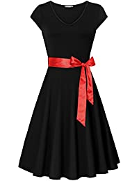 Dresses For Women Work Casual,Women's Summer Formal Party Dress Short Sleeve V Neck Flared Midi Dress With Belt(Medium,Black)