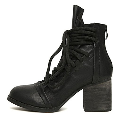 Chunky Lace Shoes Daily Black Women's Heels Mid Martin Aisun Boots Up EOXzwq