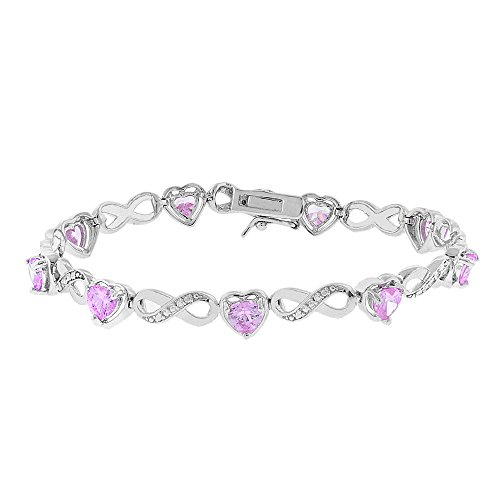 - Cate & Chloe Amanda 18k Infinity Heart Tennis Bracelet, White Gold Plated Bangle Bracelet with Unique Infinity Chain Design & Heart CZ Stones, Sparkling Charm Bracelets for Women (Pink)