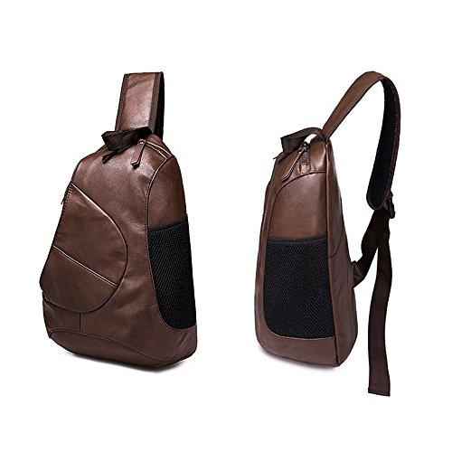 Los Cuero Todos Gran Black Pack De Bag Sling Hombro Moda Pu Utilitaria Artesania Exquisita La Hombres De Capacidad Partidos Bolsa Chest iVotre Cuerpo De La Y De De Coffee Cruz Para Elegante 51dqwv5