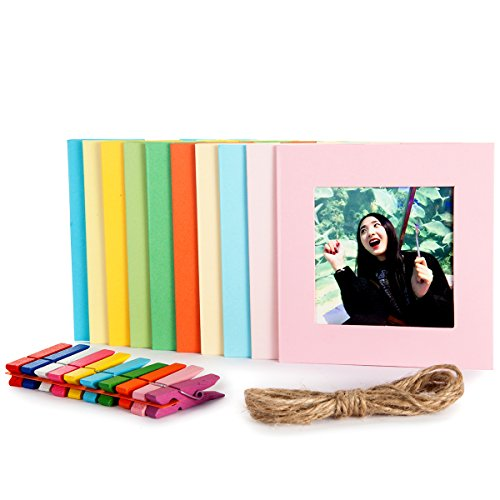 Woodmin Fujifilm Instax SQUARE SQ10 Photo Frame, Wall-Hanging Picture Bag Paper Frame Set (10 - Polaroid Square Frame
