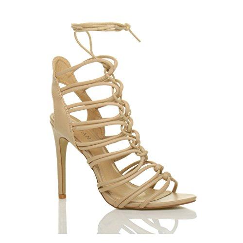 Size Women Matte Heel Ghillie Ajvani Nude Shoes High Sandals RqOYwdC