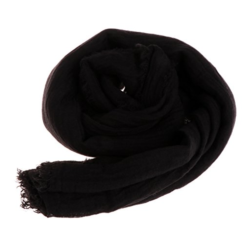 Misright Women Islam Maxi Crinkle Cloud Hijab Scarf Shawl Muslim Long Shawl Stole Wrap (Black)