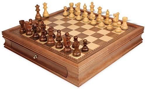 - French Lardy Staunton Chess Set Acacia & Boxwood Pieces with Walnut Chess Case - 3.25