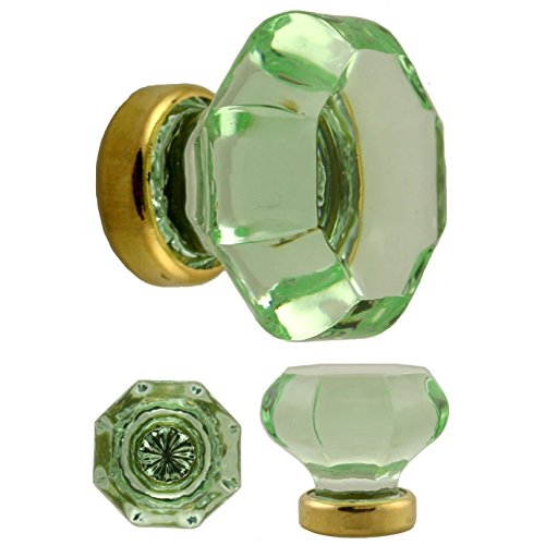 KF-25C Octagonal Pale Green Glass KNOB with Brass Base - 2 PC/Pack + Free Bonus (Skeleton Key Badge)