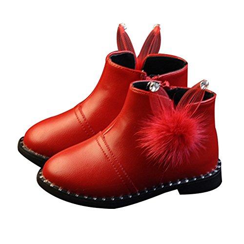Baby Mädchen Winterschuh Schnee Stiefel KleinKinder Süß Pelzstiefel Stiefel einzelne Schüler Prinzessin Schuhe Rosa Rot Rot Zwei Baumwolle