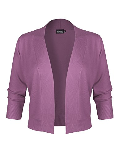 BBP Classic 3/4 Sleeve Open Front Cropped Bolero Cardigan Purple (Cashmere Kimono Sleeve Sweater)