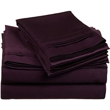 100% Premium Long-Staple Combed Cotton 650 Thread Count, King 4-Piece Sheet Set, Deep Pocket, Single Ply, Solid, Plum