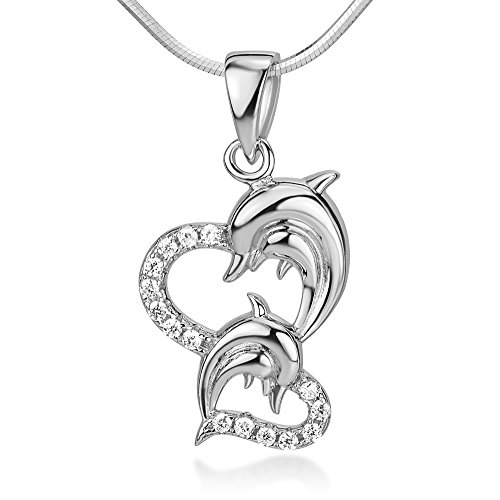 Dolphin Heart (925 Sterling Silver Cubic Zirconia CZ Twin Heart Mom and Baby Dolphin Fish Love Pendant Necklace)