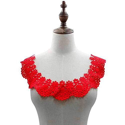 White Black Embroidery Flower Lace Neckline Fabric DIY Lace Collar Sewing Craft Neckline Trimming Decoration Scrapbooking (red)
