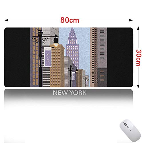 (City Mouse pad Cute Cartoon Style New York Abstract Urban Metropolitan Manhattan Illustration Modern Art Ideal for Office Computer Multicolor 31×12in)