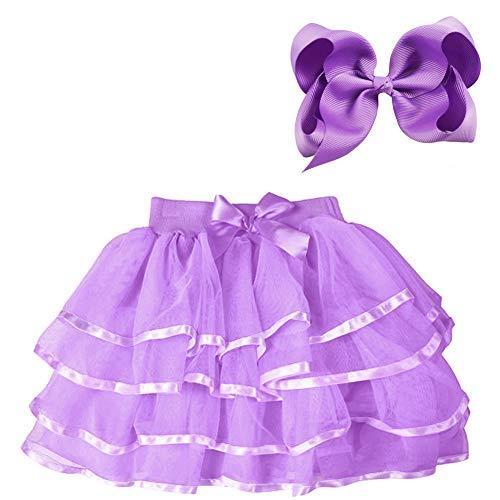 BGFKS 4 Layered Tulle Tutu Skirt for Girls with Hairbow or Birthday Sash,Girl Ballet Tutu Skirt (Purple, 11-14 Years)]()