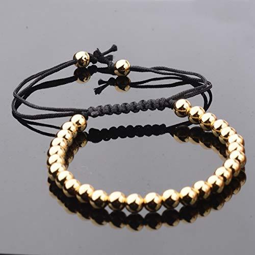 Gatton 6MM Beads Hot Charms Punk Unisex Women Mens Leather Macrame Bracelet 18K Jewelry | Model BRCLT - 40785 | 6mm Zircon Beads Gold
