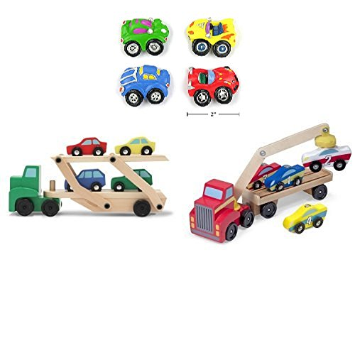 Melissa & Doug Car Carrier and Magnetic Car Loader with 4pk Car Magnets