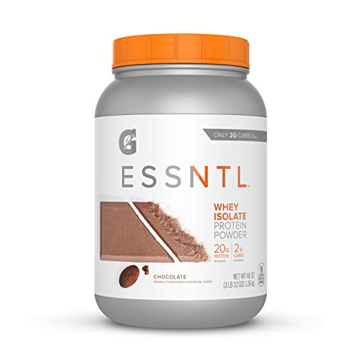 Gatorade G ESSNTL Whey Isolate Protein Powder, Chocolate, 3 Pound Canister 55 servings per canister, 20 grams of protein per serving