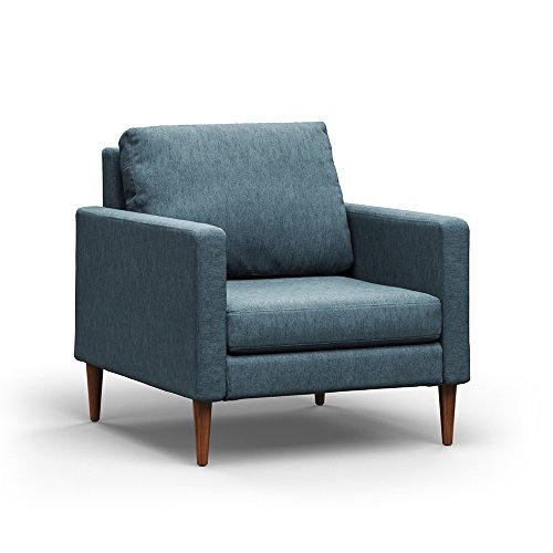 Campaign Steel Frame Brushed Weave Accent Chair, 33 Inches, Meridian Blue with Mahogany Stained Solid Oak Legs