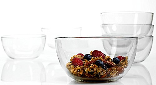 Anchor Hocking Presence 6 Inch Glass Cereal Bowl, Set of 6 (Glass Soup Bowl)