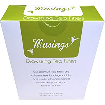 Premium Drawstring Tea Bags For Loose Leaf, Disposable Filters, Strong, No Mess Tag, All Natural Infuser, Compostable, Unbleached Manilla Hemp Paper