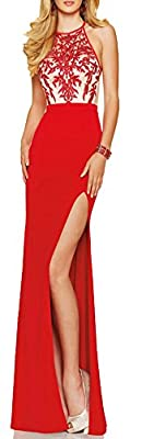 made2envy Embroidery Decorated Halter Neckline Evening Gown