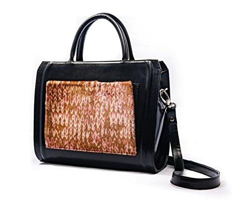 (Pony Hair Pocket Women Shoulder Black Bag MURA GURA ANABEL Pink)