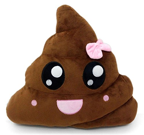 Poop Emoji Smiley Emoticon Round Cushion Pillow Stuffed Cute Plush Soft Toy Doll Poop Pink Poop Purple Queen Poop Pink Queen Poop Rainbow Poop Rainbow Tongue Poop Car Home Office Accessory (PINK POOP)]()