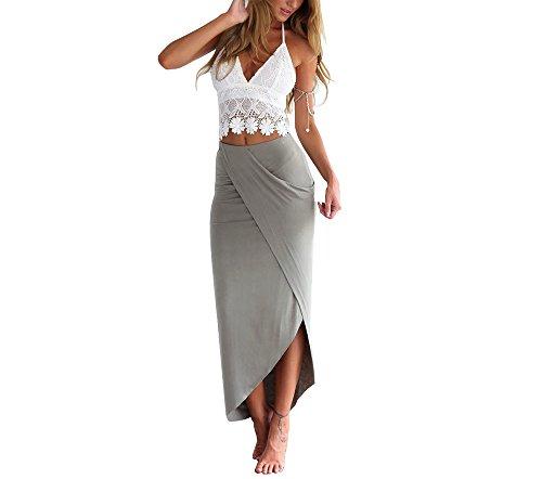 Yllision cianine Ladies 2Pcs Set White Lace Cami Tank Crop Top Grey Irregular Wrap Maxi Skirt XL