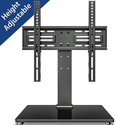 FITUEYES Universal TV Stand Table Top TV Stand for 27-55 inch LCD LED TVs 6 Level Height Adjustable TV Base with Tempered Glass Base Security Wire VESA 400×400 Holds up to 88lbs TT103701GB