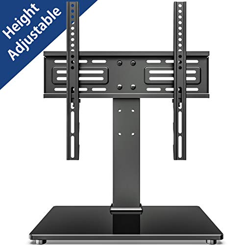 FITUEYES Universal TV Stand Table Top TV Stand for 27-55 inch LCD LED TVs 6 Level Height Adjustable TV Base with Tempered Glass Base & Security Wire VESA 400×400 Holds up to 88lbs TT103701GB