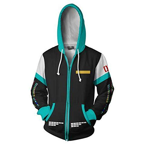 Mikucos Hatsune Miku Jacket Coat Hooded Hoodie Swater Costume Cosplay -