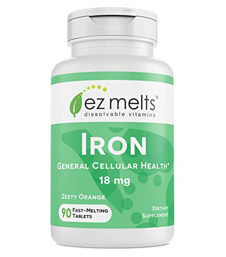 EZ Melts Iron as Elemental Iron, 18 mg, Sublingual Vitamins, Vegan, Zero Sugar, Natural Orange Flavor, 90 Fast Dissolve Tablets