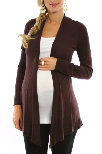 PinkBlush Maternity Brown Maternity Cardigan, Large