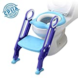 Potty Training Toilet Seat with Step Stool Ladder for Kids Children Baby Toddler Toilet Training Seat Chair with Soft Cushion Sturdy and Non-Slip Wide Steps for Girls and Boys (Blue Purple)