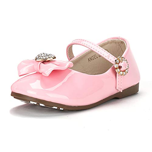 Dream Pairs ANGEL-22 Mary Jane Front Bow Heart Rhinestone Buckle Ballerina Flat (Toddler/ Little Girl) New, PINK PAT, 7 M US Toddler