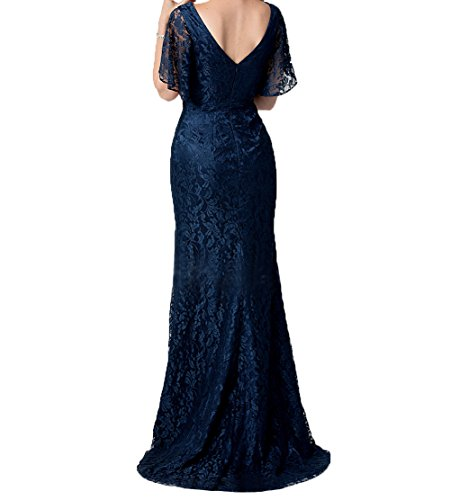 Abendkleider Partykleider Figurbetont Kurzarm Festlichkleider Brautmutterkleider Elegant Damen Spitze Burgundy Lang Charmant 6FwBTqx