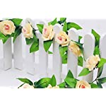 Yesier-2-Pack-Plastic-Artificial-Rose-Flowers-Hanging-Vine-String-Plant-Fake-Silk-Home-Party-Wedding-Decorations-Champagne-rose