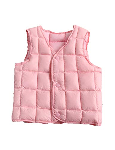 Slim for Casual fit Jacket Girls Vest Waistcoat BESBOMIG Outwear Gilet Pink Cotton Warm Sleeveless Child Lightweight Down Boys qx4wOYA