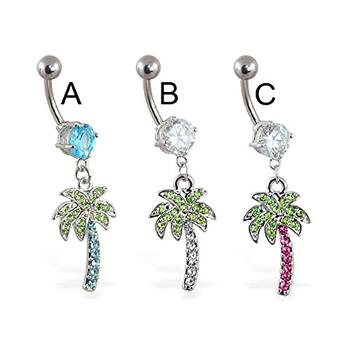 MsPiercing Navel Ring With Dangling Jeweled Palm Tree, Pink - C