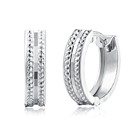 14K White Gold Diamond-Cut Huggie Endless Hoop