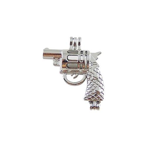 Gun Pearl - Julie Wang 10pcs Silver Gun Shape Locket Pearl Stone Beads Cage Pendant Charms