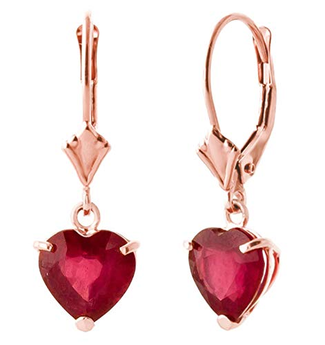 (2.9 CTW 14k Solid Rose Gold Leverback Earrings with Natural Heart-shaped Ruby)