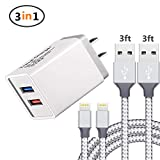 iPhone Charger, USB Wall Charger, Charger Adapter + 2 Pack Lightning Cable, Lightning to USB Data Charge Sync Cable Compatible iPhone X/8/7/6S/6/Plus/SE/5S/5C,iPod,iPad,Tablet