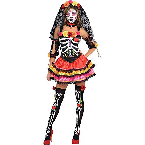 AMSCAN Day of the Dead Senorita Halloween Costume for Women, Large, with Included Accessories