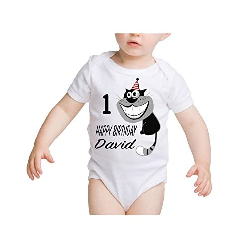 Customized Happy Birthday Baby Boy Funny Cat OnesieFirst Second Birthday1st 2nd