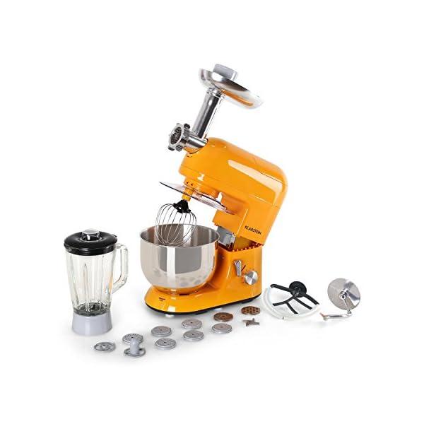 Klarstein Lucia Rossa - robot da cucina , mixer , impastatrice , 1200 W , 5 L , sistema planetario , tritacarne , ganci… 1
