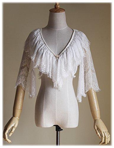 Lolita Bolero Short Jacket Summer Shrug Lace Top (Large, White)