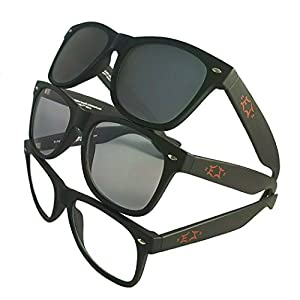 Black Retro Wayfarer Sunglasses By EJ | Photochromic | Transitions | Indoor - Outdoor | Perfect For Motorcycle - Golf - Snowboarding - Fishing Glasses | Men - Women - Unisex | Universal Fit