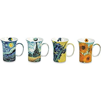 Van Gogh Coffee Mugs In Gift Box - Bone China - 10 Oz Cups - Set Of 4